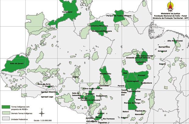 Mapa divulgado pela Funai mostra em verde escuro 36 territórios indígenas com proposta de Redd. Contratos firmados com empresas estrangeiras são considerados anulados, afirma presidente da instituição. (Foto: Divulgação/Funai)