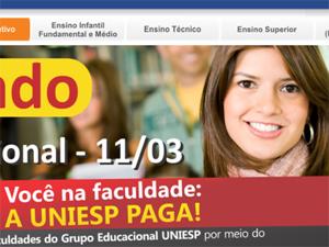 Site oficial da Uniesp oferece possibilidade de estudar sem custo (Foto: Reprodução / Site Uniesp)