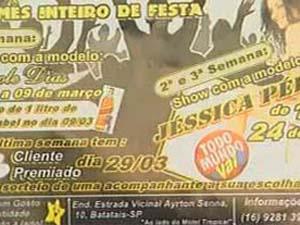 Folhetos distribuídos pela casa noturna em Batatais, SP (Foto: Reprodução/EPTV)