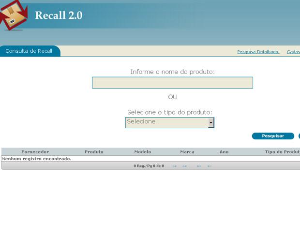 Novo site de recall lançado pelo Ministério da Justiça (Foto: Reprodução)