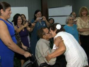 Casamento foi realizado no Hospital do Coração de Messejana. (Foto: TV Verdes Mares/Reprodução)