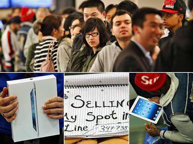O novo iPad da Apple começou a ser vendido a US$ 499 em Nova York a partir da meia-noite. Em busca do tablet, muitos americanos permaneceram na fila até a madrugada desta sexta-feira (16), para entrar na loja da 5ª Avenida, em Manhattan. Alguns até aprove (Foto: Eduardo Munoz / Reuters )