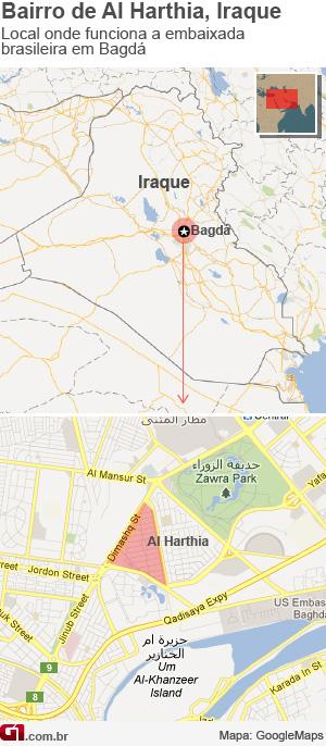 mapa mostra localzação da embaixada brasileira no iraque (Foto: editoria de arte/g1)