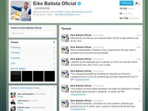 Twiiter do Eike Batista defendendo filho (Foto: Reprodução Twiiter)