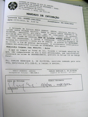 Thor foi intimado a depoir na próxima quinta-feira (22) (Foto: Christiano Ferreira / G1)