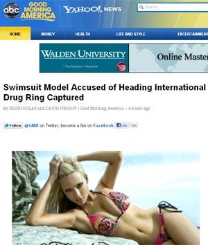 A modelo Simone Farrow, que foi presa na Austrália acusada de chefiar organização criminosa (Foto: Reprodução)