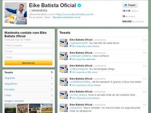 O Twitter do empresário Eike Batista (Foto: Reprodução)