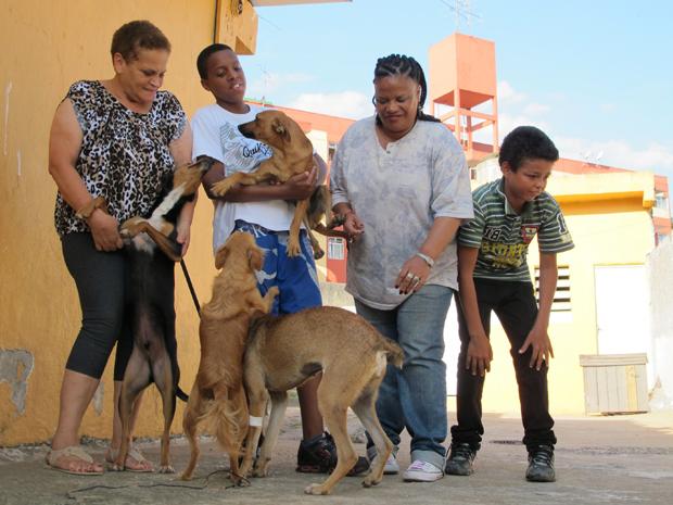 Grupo da associação com cães (Foto: Fabiano Correia/G1)