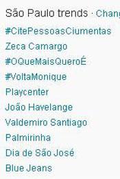 Trending Topics em SP às 13h06  (Foto: Reprodução)
