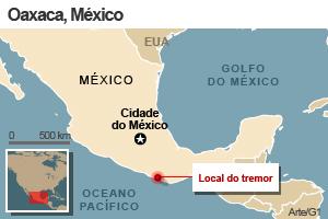 mapa terremoto méxico 20/3 (Foto: Arte G1)