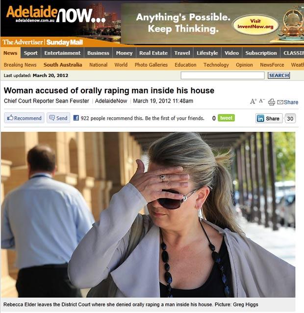Rebecca Helen Elder foi acusada de invadir a casa de um homem e fazer sexo oral nele. (Foto: Reprodução)