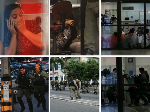 Fotógrafo registrou momentos de tensão e ação da polícia durante assalto a banco (Foto: Régis Capibaribe/ Arquivo Pessoal)