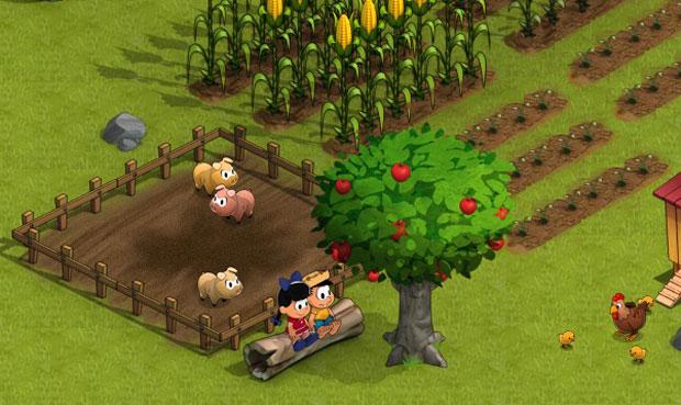 Chico Bento e Rosinha em 3D no game para Facebook e Orkut 'Turma do Chico Bento' (Foto: Divulgação)