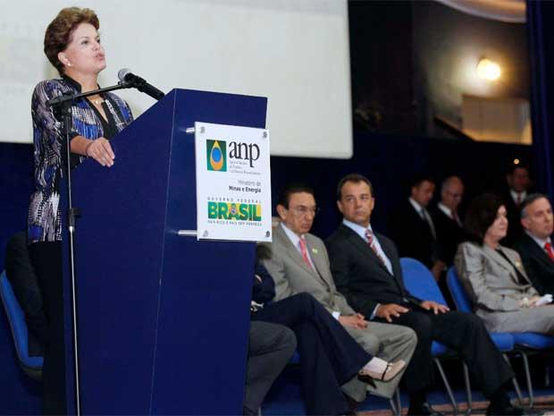 Presidente Dilma Rousseff discursa na posse de Magda Chambriard no comando da ANP (Foto: Carlos Magno/Governo do Estado do Rio de Janeiro)