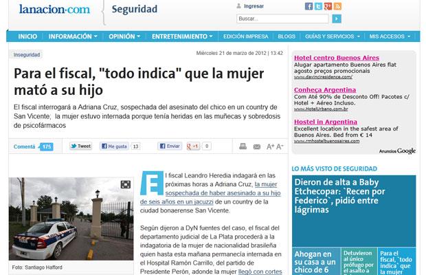 Jornal local 'La Nación' traz reportagem sobre o caso (Foto: Reprodução/Site do La Nación)