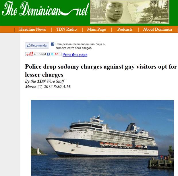 Site de notícias local noticiou a retirada da acusação de sodomia, que era uma acusação mais grave que a de exposição indecente (Foto: Reprodução/The Dominican)