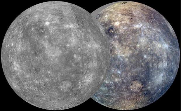 Combinação de imagens de Mercúrio feitas pela Messenger em 5 de outubro de 2011 (Foto: Reuters/NASA/Johns Hopkins University Applied Physics Laboratory/Carnegie Institution of Washington/Divulgação)
