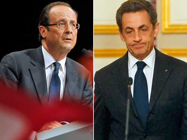 François Hollande e Nicolas Sarkozy. (Foto: AP Photo)