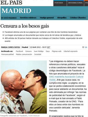 Foto de beijo gay que causou polêmica envolvendo o Facebook (Foto: Reprodução/El País)