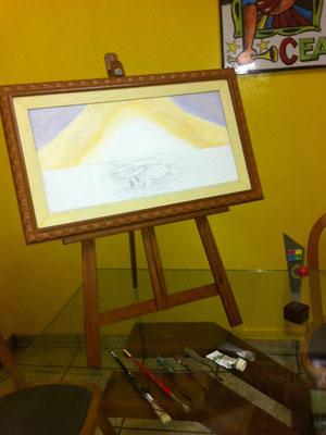 Tela do quadro inacabado feito por Chico Anysio (Foto: G1)