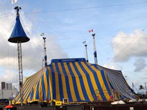 Lona do Cirque du Soleil (Foto: Katherine Coutinho/G1 PE)