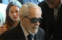 O ator Lúcio Mauro no velório de Chico Anysio (Foto: Reprodução/TV Globo)