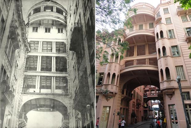 Antes e depois Casa de Cultura Mário Quintana (Foto: Montagem sobre fotos Divulgação/CCMQ e Caroline Jacobi/Divulgação/CCMQ)