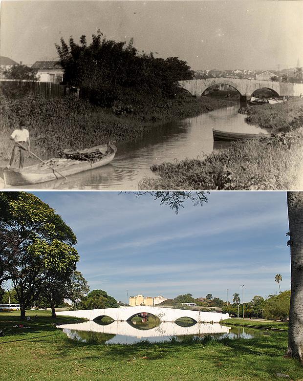 Antes e depois da Ponte de Pedra, em Porto Alegre (Foto: Montagem sobre fotos Divulgação/PMPA e Luiza Carneiro/G1)
