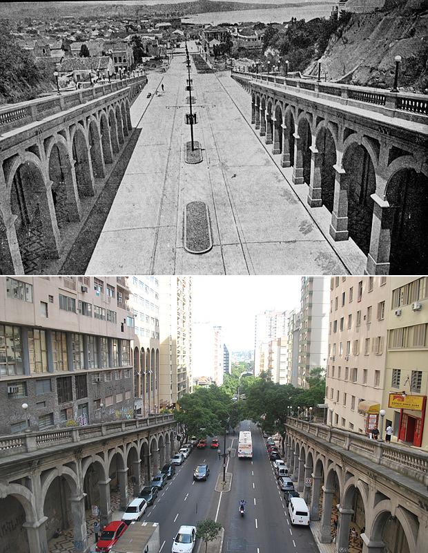 Antes e depois do Viaduto da Borges de Medeiros (Foto: Montagem sobre fotos Divulgação/PMPA e Luiza Carneiro/G1)