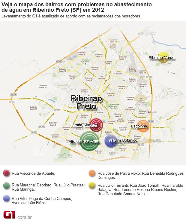 Mapa aponta problemas no abastecimento de água em Ribeirão Preto, SP (Foto: Arte/G1)