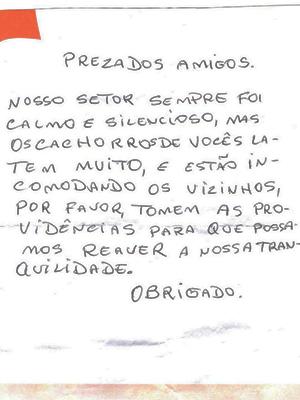 Carta sobre 'incômodo' foi enviada para moradores da Rua João Lélis (Foto: Arquivo pessoal)