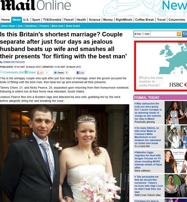 Tammy Driver e Nicky Pearce se separaram apenas quatro dias após o casamento. (Foto: Reprodução/Daily Mail)