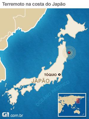 mapa terremoto japao 27/3 (Foto: arte g1)