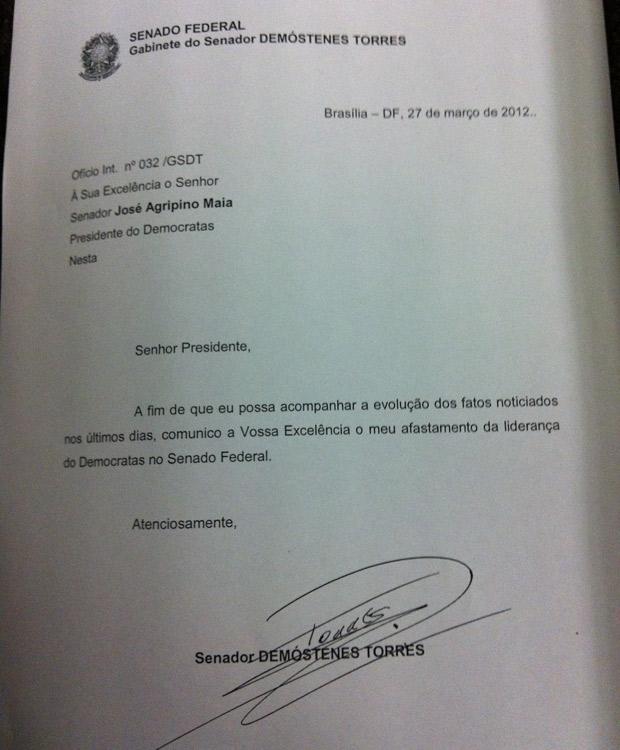 O senador Demóstenes Torres (GO) pediu afastamento da liderança em carta ao presidente da sigla (Foto: Reprodução)