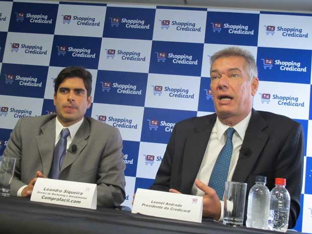 Leandro Siqueira, do Comprafacil.com; e Leonel Andrade, da Credicard (Foto: Darlan Alvarenga/G1)