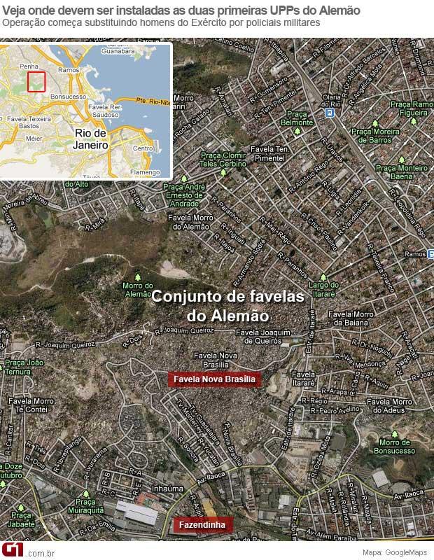 Mapa Conjunto de Favelas do Alemão (Foto: Arte G1 / G1)