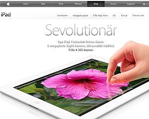 No site da Apple na Suécia, companhia não deixa claro que 4G do novo iPad não funciona no país, segundo órgão regulador (Foto: Reprodução)