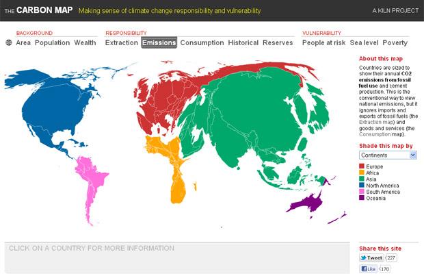 Com relação às emissões atuais de carbono, China, Índia, Japão, EUA e Europa têm um peso maior que o restante do mundo. (Foto: Divulgação / The Carbon Map)