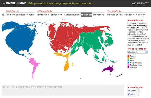 Mapa distorcido mostra o tamanho proporcional dos países de acordo com a emissão de carbono desde 1850. (Foto: Reprodução / The Carbon Map)