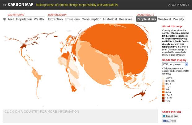 Vulnerabilidade da Ásia aos efeitos do aquecimento global é muito maior que no restante do globo. (Foto: Divulgação / The Carbon Map)