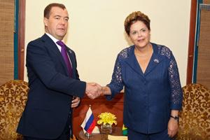 Dilma teve reunião bilateral com o presidente russo Dmitri Medvedev (Foto: Roberto Stuckert Filho / Presidência)