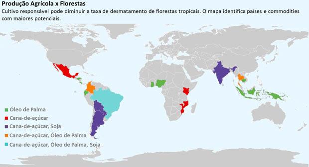 Mapa do Ipam mostra áreas que poderiam usar o sistema de consórcio entre crédito de carbono e certificação ambiental de propriedades rurais. (Foto: (Foto: Reprodução / Ipam) )