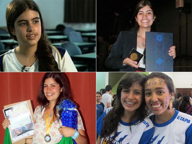 Tábata Amaral deu entrevista ao 'JN' em 2007 (no alto, à esq.), colecionou medalhas de olimpíadas estudantis e foi aprovada no último vestibular da Fuvest para o curso de física da USP (Foto: TV Globo/Reprodução/Divulgação)