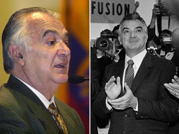 Miguel de la Madrid, em imagens de 2001, em Porto Rico, e de 1985, quando ainda era presidente (Foto: AP/Arquivo)