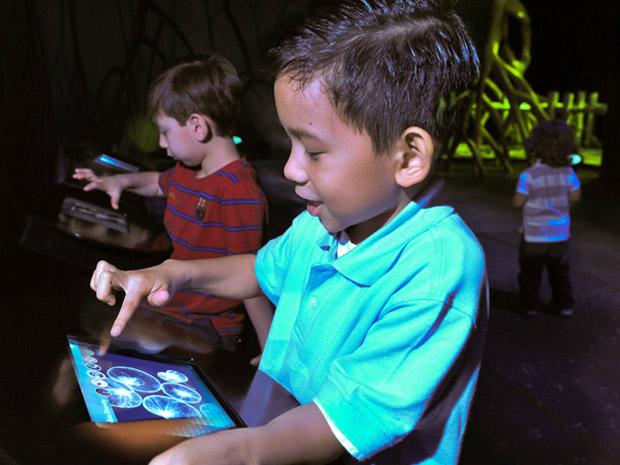 Visitantes podem aprender mais por meio de iPads que oferecem animações, fotografias e material sobre bioluminescência e fenômenos relacionados. (Foto: AMNH D. Finnin )