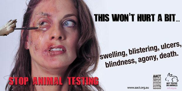 Anúncio diz, ironicamente, que testes em humanos