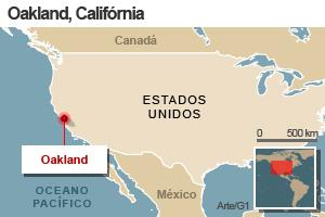 mapa okland califórnia (Foto: Editoria de Arte / G1)