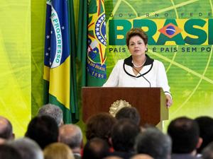 A presidente Dilma Rousseff discursa durante cerimônia de lançamento de medidas do Plano Brasil Maior, de estímulo à economia. (Foto: Roberto Stuckert Filho/PR)