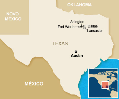 Mapa - tornados no Texas (Foto: Editoria de Arte/G1)
