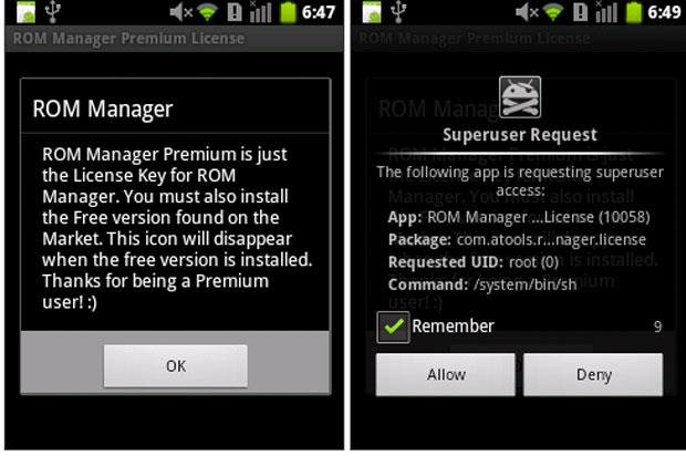 Solicitação de acesso root de um app infectado (Foto: Reprodução)